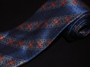 Ermenegildo Zegna Tie Blue Luxury Floral Stripe Satin Designer Italian Silk New