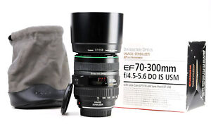 Canon EF 70-300mm F4.5-5.6 DO Image Stabilizer ISUSM Zoom Lens Box,Caps,Hood EXC