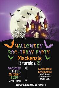 Personalised Halloween Haunted House Birthday Party Invites Inc Envelopes HW73