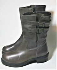 MOMA BARNEYS CO-OP SHOES GRAY LEATHER BIKER MID BOOT SIDE ZIP MOTO 37 ITALY NEW