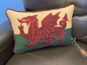 Welsh Flag /Red Dragon Passant Couch Cushion By Woven Magic (12x18inch)