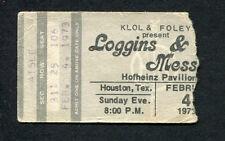1973 Loggins & Messina concert ticket stub Houston House At Pooh Corner