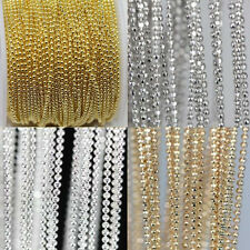 5M Gold/Silver Plated Round Beads Chains Necklace Making DIY (Beads Size:1.5mm)