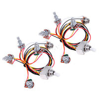 2* Wiring Harness Prewired 2V2T 3way Toggle Switch Jack 500K Pots for Gb Guitar