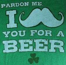 "Mens New M St. Patricks Day ""I Mustache You For A Beer"" Funny Green T-Shirt"