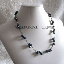 """20"""" 6-8mm 3row Peacock Freshwater Pearl Black Wire Necklace U"""