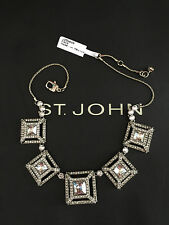 NEW ST JOHN KNIT DESIGNER NECKLACE LIGHT  GOLD COLOR  & CRYSTAL