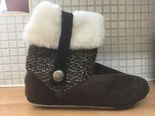 Coolers Womens Boot Slippers Size 7/8 Uk NEW* Brown Uk Freepost