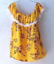 NEW~Sunshine Floral & Ivory Crochet Lace Peasant Blouse Boho Top~12/14/L/Large