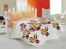 3 tlg Bettwäsche Bettgarnitur 100% Baumwolle Kissen Decke 160x220 cm OLIVE ORANG