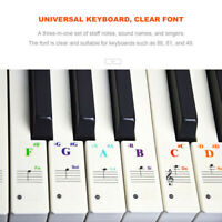Piano Stickers Note for 49 /61/ 76/ 88 Key Keyboards Transparent and Removable