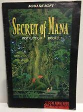 Secret of Mana Instruction Booklet Manual Only for Super Nintendo SNES NTSC