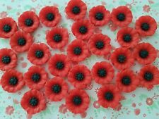 5 x 18mm Poppy Flower Resin Flatback Embellishment Crafts Cabochon Decoden UK