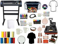 8in1 Pro Combo Heat Press 28 24 Laser Vinyl Cutter Plotter Printer 2cis Bundle