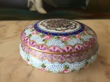 FRENCH SEVRES HAND PAINTED TRINKET BOX , 10.5 CM DIAMETER