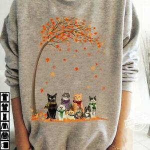 Cat Group Fall Tree Sweatshirt Sport Grey M - 4XL