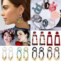 Chic Geometric Boho Resin Earrings Hook Stud Dangle Party Women Gift Jewellery