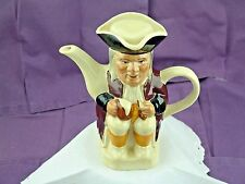 """STAFFORDSHIRE ENGLAND TOBY PITCHER FACE JUG TONY WOOD LIDDED POTTERY STEIN 7.5"""""""