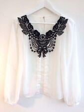 MissSelfridge cream-white chiffon applique blouse  long sleeve S 8 36
