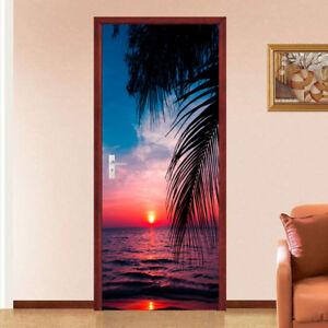 3D Sunset Tropical Self Adhesive Bedroom Door Murals Wall Sticker Wallpaper