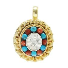 Handmade Yellow Gold Plated Silver Coral Turquoise Pendant Ethnic Jewelry