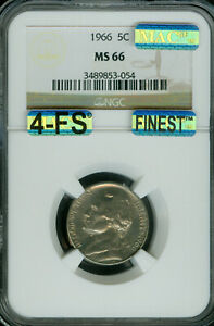 1966 JEFFERSON NICKEL NGC MAC MS-66 4FS FINEST GRADE SPOTLESS $20,000 FOR FS .