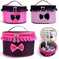 Women Multifunction Travel Cosmetic Bag Makeup Bow Case Pouch Toiletry Organizer