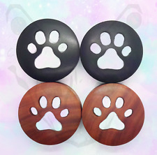 Carved Wood Paw Print Big Gauge Ear Plug Saddle Cat Dog Organic Black Saba 40mm