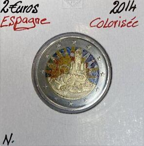 ESPAGNE - 2 EURO 2014 // Pièce de 2 Euro Commémorative Colorisée (Ref1)