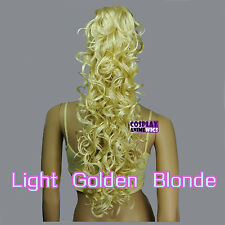 Light Golden Blonde 60cm Heat Resistant Cosplay Curly Clip-On Ponytails 2_LGB