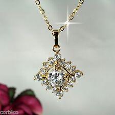 N11 18K Gold Plated Square Design Crystal Necklace & Pendant