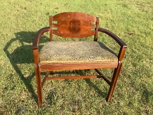 VINTAGE antique VANITY BENCH CHAIR SEAT MID CENTURY WOOD Wooden