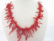 filo di rametti in gradazione di corallo rosso vivo naturale sardo lungo 51 cm