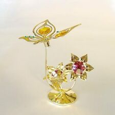 FARFALLA CON FIORI GOLD CRYSTOCRAFT SWAROVSKI ELEMENTS