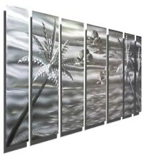 Large Tropical Metal Wall Art Modern Etched Silver Ocean Beach Decor Jon Allen