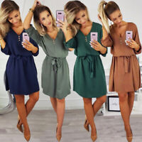 Women Solid 3/4 Sleeve V Neck Casual Mini Shirt Dress Loose Lace Up Beach Summer
