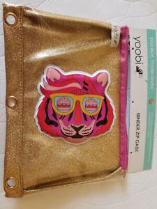 Yoobi Binder Zip Case Pouch Tiger for Pens Pencils Markers School Supplies