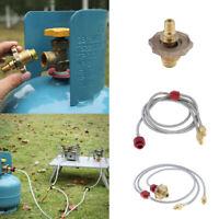 Camping BBQ LP Gas Flat Cylinder Tank Coupler Propane Refill Adapter Hose