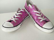 Women's Converse pink glitter shoes trainers plimsolls UK 2 EU 34