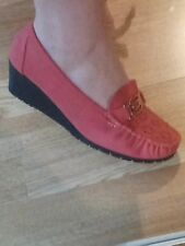 Women's Shoes, Wedge Moccasin Style, Soft Faux Pink leather, Size 6 NIB