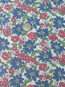 """Vintage Partial Feed Sack  Periwinkle and Red Floral  20"""" x 18"""""""