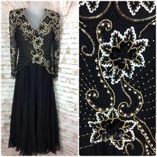 Victorian Black Full Length Silk Chiffon Evening Gown Beaded Sequence Dress Sz L