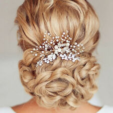 Silver Vintage Wedding Bridal Pearl Flower Crystal Hair Pin Bridesmaid Clip Comb