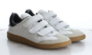 80-39 $385 Women's Size 38EU Isabel Marant Beth Low Top Sneaker in White/Black