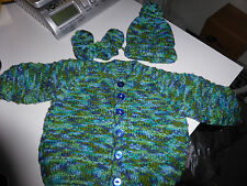 CHILDS HAND KNITTED WOOL 3 PIECE SET 6 MONTHS