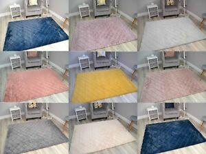 Plain Rugs Faux Rabbit Fur Ultra Soft Wool Shaggy Thick Pile Floor Carpets Mats