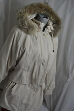 LONDON FOG Cream color coyote Fur Trimmed Jacket parka Sz M