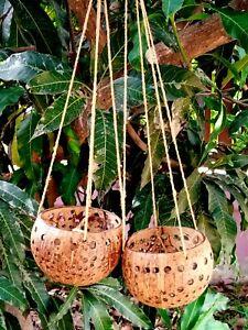 2x Natural Pot Plant Coconut Shell Basket Flower Hanging Home Garden Decor