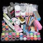 42 Acrylic Powder Liquid Brush Glitter Clipper Primer File Nail Art Tips Set Kit