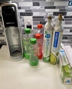 Sodastream Machine, 5 Bottles, (2)60L Cartridges (1 Empty, 1 Hardly Used)